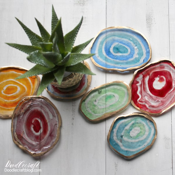 Make faux agate slices using EasyCast resin