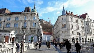 Ljubljana Castle with a Slovenia Flag