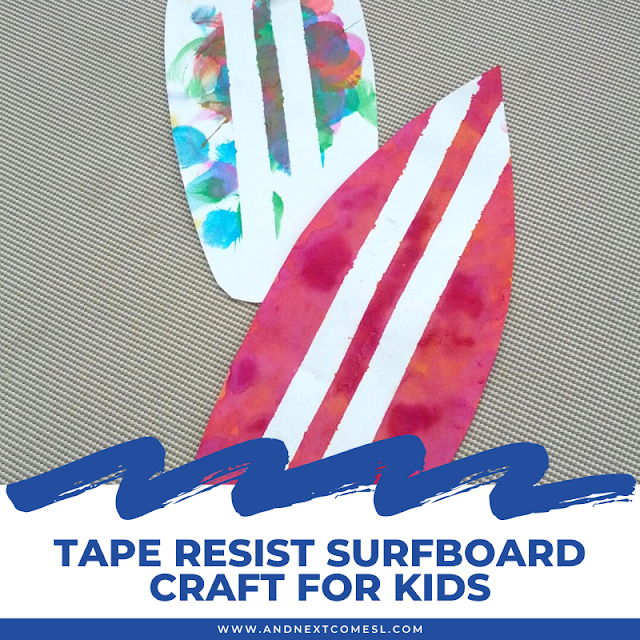 Tape resist surfboard craft for toddlers and preschoolers