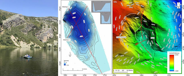 The data collected with the echo sounder from an inflatable boat are combined with the LiDAR to generate the bathymetric (depth) and 3D models / J. Fernández-Lozano/ R. Andrés-Bercianos