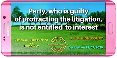 Party, who is guilty of protracting the litigation, is not entitled  to interest