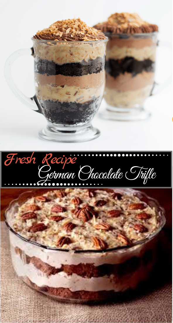 German Chocolate Trifle #desserts #cakerecipe #chocolate #fingerfood #easy