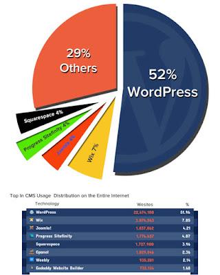 مخطط يعرض أشهر منصات إنشاء مواقع الويب