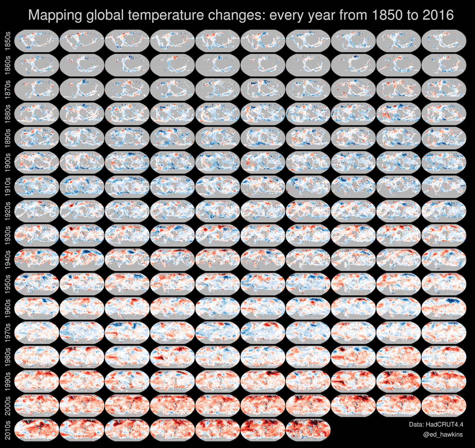 Mapping global temperature change: every year from 1850 to 2016