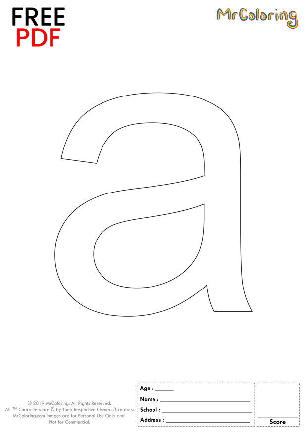 Alphabet letter a coloring pages lowercase flat for kids