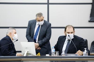 Os vereadores Sidnei Telles, Doutor Jamal e Mário Verri – Foto: Marquinhos Oliveira/CMM. Café com Jornalista