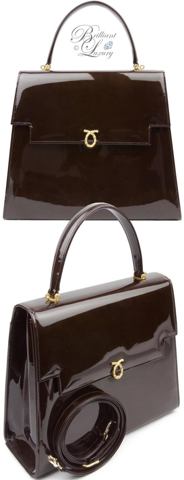 Brilliant Luxury ♦ Launer Maggie handbag brown patent leather