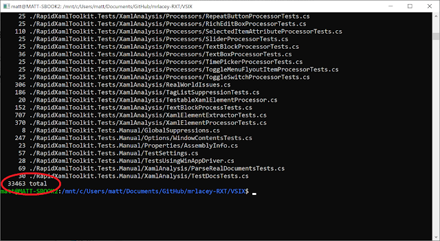 Screenshot of output from the command