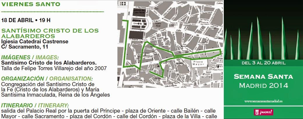 Procesión del Cristo de los Alabarderos 2014 en Madrid. Fecha, horario y recorrido
