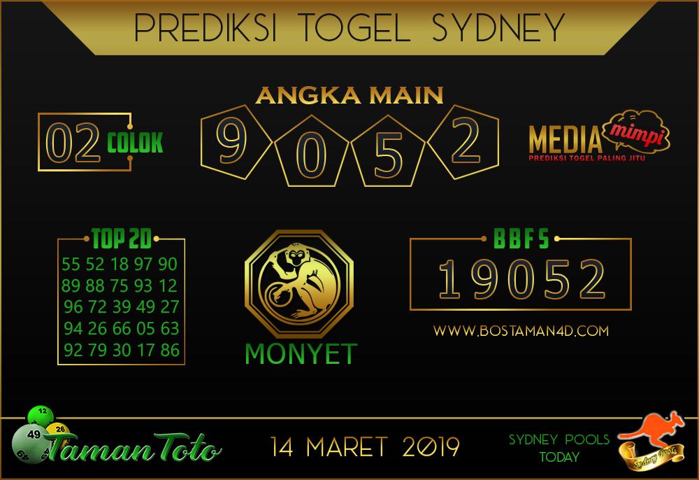 Prediksi Togel SYDNEY TAMAN TOTO 14 MARET 2019