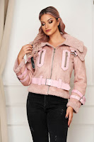 Geaca SunShine roz casual din piele intoarsa ecologica