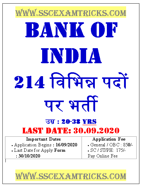 Bank of India Various Posts Recruitment
