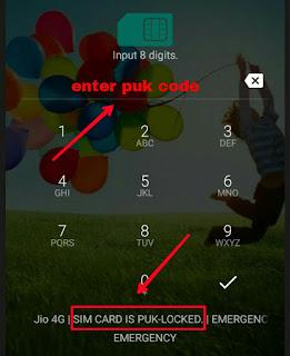 Mobile me puk code enter kare