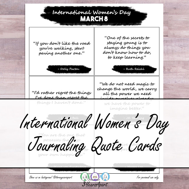 3 Years Apart - International Women's Day Journaling Quote Cards Free Printable
