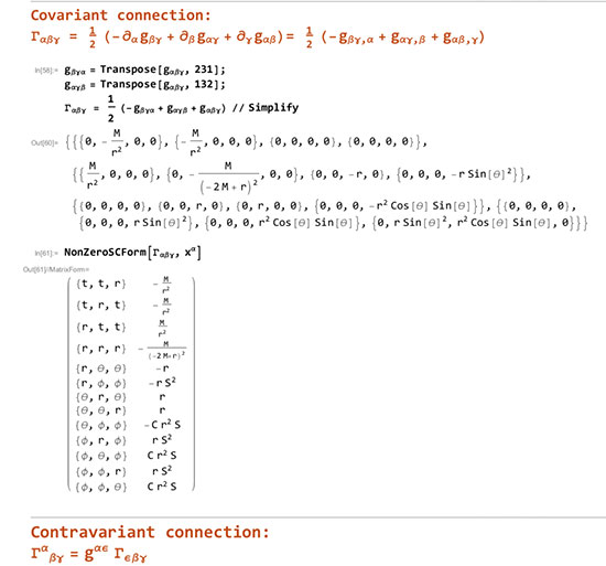 Using Mathematica to compute the connection for curved space time geodesic (Source: Math Whiz Dave, Saguarosoft)
