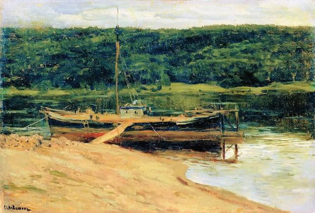 Исаак Ильич Левитан - Серый день. Лес над рекой. 1888