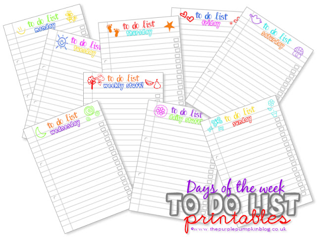 Days of the Week To Do Lists [Free Printables] at The Purple Pumpkin Blog