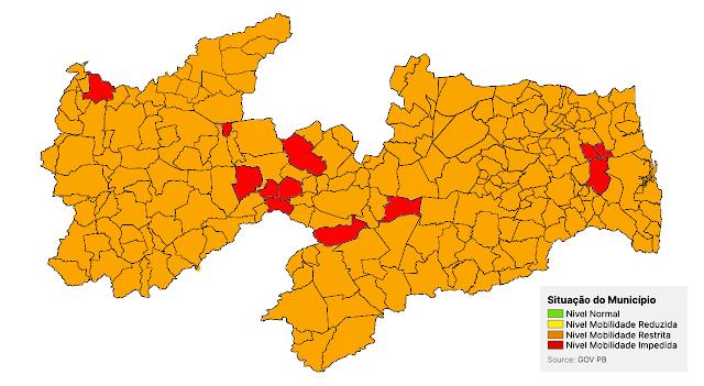 Paraíba tem 95% dos municípios em bandeira laranja na 26ª avaliação do Plano Novo Normal