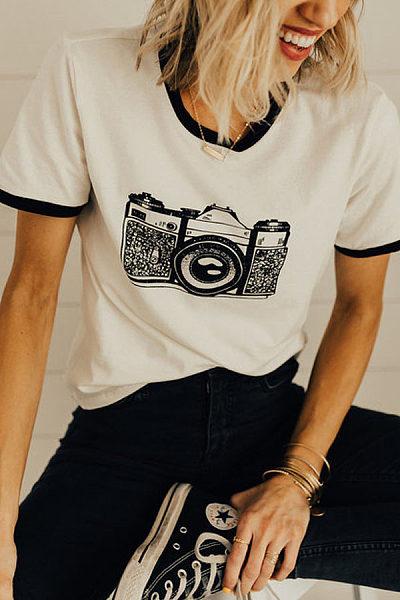 Round Neck Contrast Trim Printed T-Shirts
