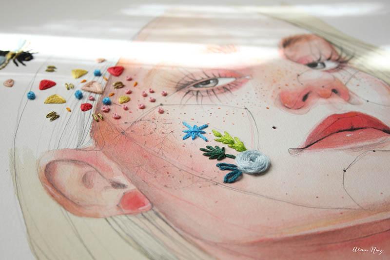 Bordando ilustración de Ana Santos