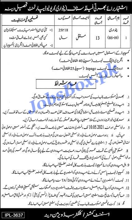 Latest Revenue Department Jhelum Patwari Jobs 2021