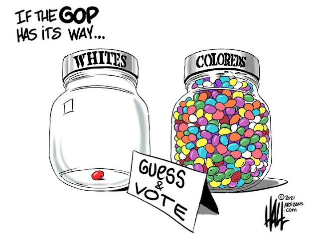Caption:  If the GOP has its way . . . .  Image:  Two candy jars, one containint one jelly bean and labeled