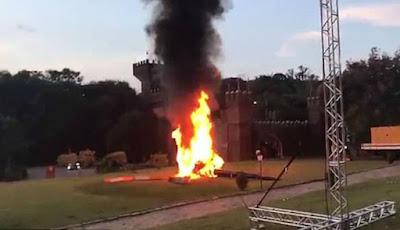 Detik-detik Helikopter Bawa Pengantin Terjatuh dan Terbakar