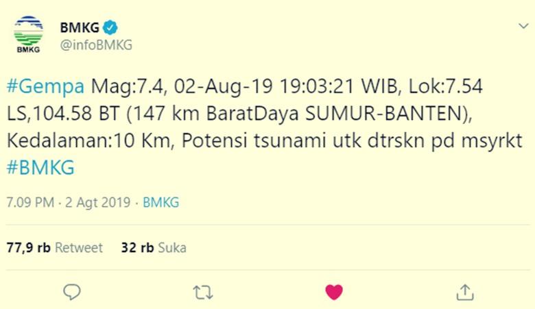Gempa Hari Ini di Sumur Banten - twitterBMKG