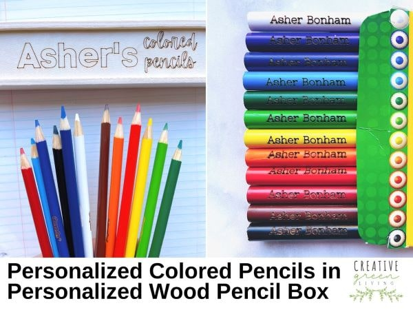 Stocking stuffer ideas - personalized colored pencils in a wood slide top box case