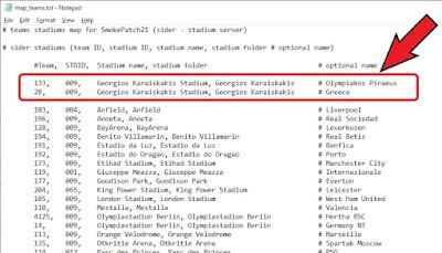 add stadium team map