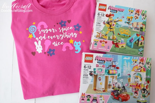 Powerpuff girls Lego sets with sugar, spice and everything nice shirt diy