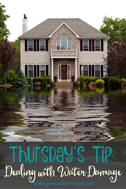Here are a few great tips for dealing with water damage in your house.  This week's Thursday's Tip from Walking on Sunshine Recipes.
