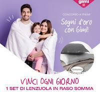 """Concorso """" Sogni d'oro con Gimi"""" : vinci 123 Set di lenzuola Somma ( uno al giorno)"""