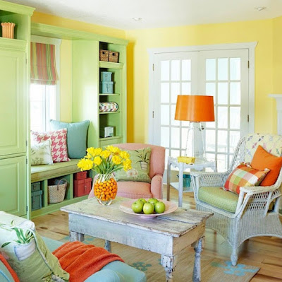Desain Interior Terbaik Ruang Tamu Colorfull