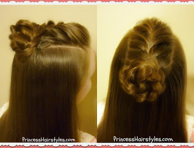 French braid top knot with braided flower hairstyle.