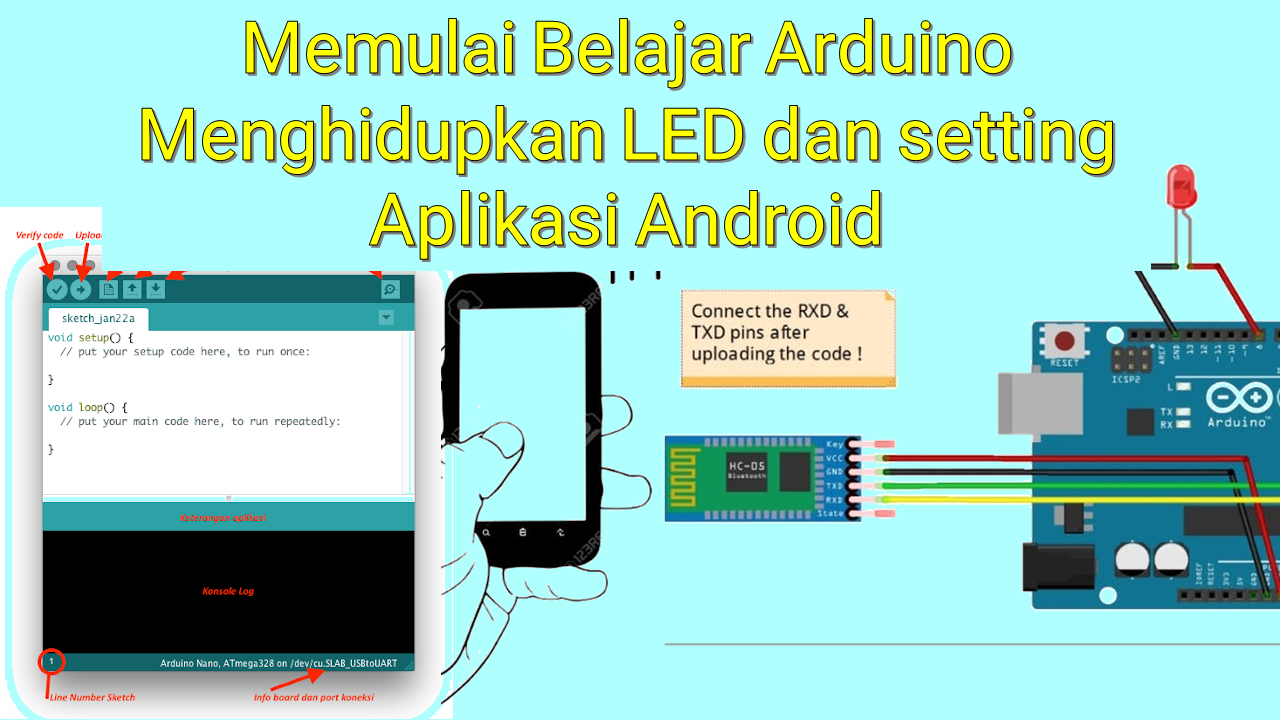 Memulai Belajar Arduino Menghidupkan LED dan setting Aplikasi Android Bluetooth Controller