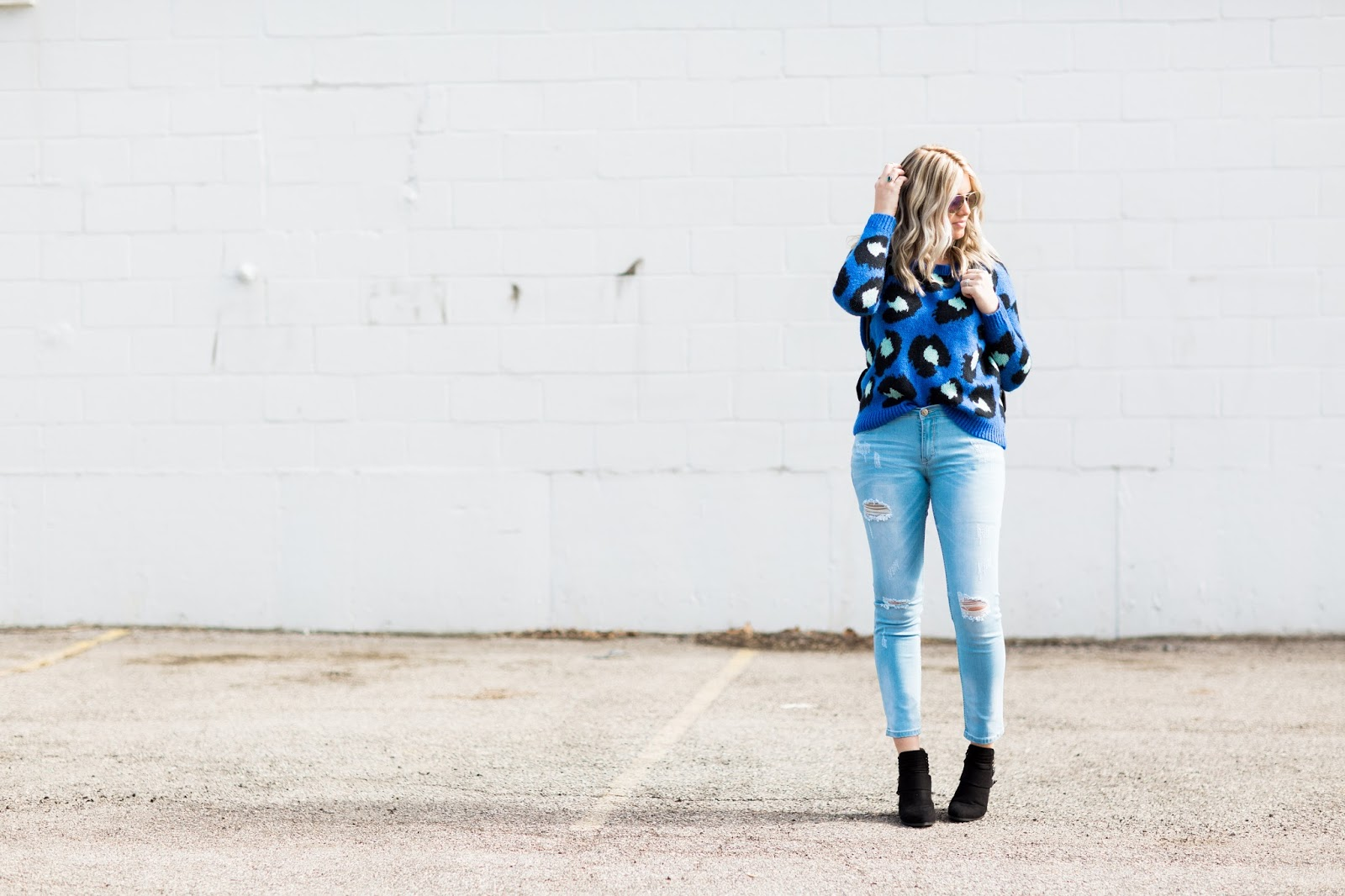 thredUP, Leopard Sweater, Ripped Jeans