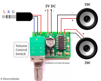 PAM8403 GF1002 3W Two Channel Audio Amplifier Module Connection Diagram