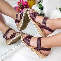 Sandale cu platforma dama piele naturala visinie Pacari