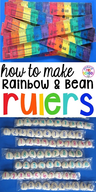 DIY rulers - How to make non-standard measurement tools (rainbow rulers & bean rulers)for your early childhood classroom. My students will love using these.