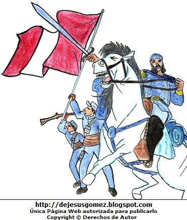 Dibujo de la Batalla de Huamachuco con Andrés Avelino Cáceres de Jesus Gómez