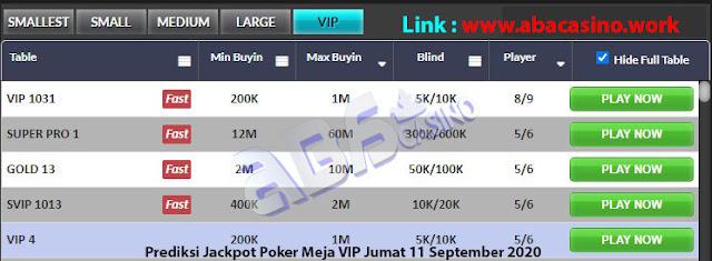 prediksi jackpot poker meja vip jumat 11 september 2020