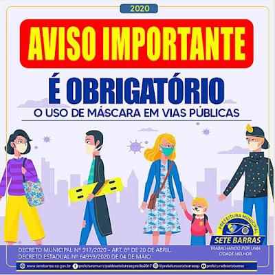Prefeitura de Sete Barras intensifica a fiscalização com a obrigação do uso de máscaras nas ruas