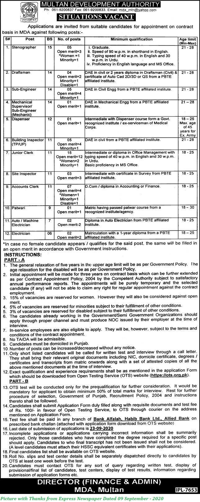 Multan Development Authority Jobs 2020 - Latest Jobs in MDA 2020 September Apply OTS Jobs 2020