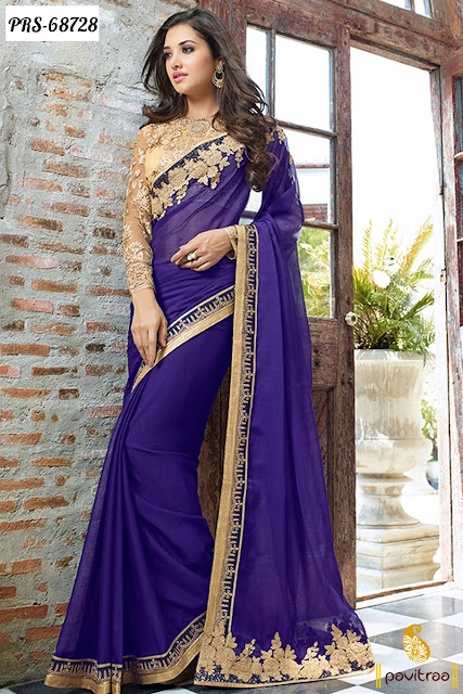 Royal blue color designer chiffon saree online shopping with price