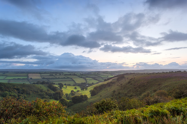 Looking into the Punchbowl under pre-dawn light in Exmoor National Park