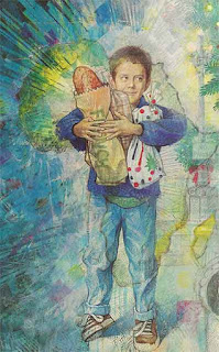 Illustration of a little boy holding bags of bread, by Richard Jesse Watson