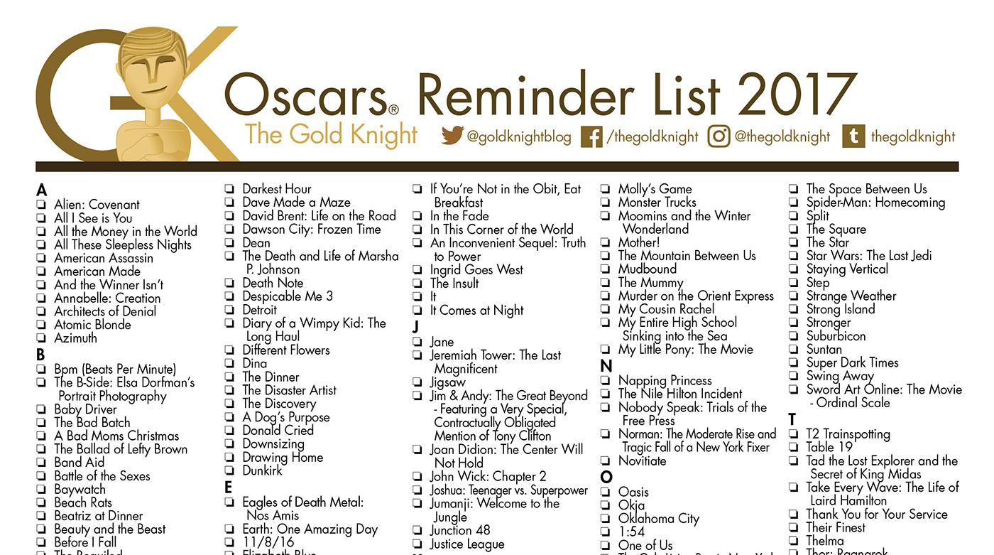Oscars 2018: Printable Best Picture Reminder List