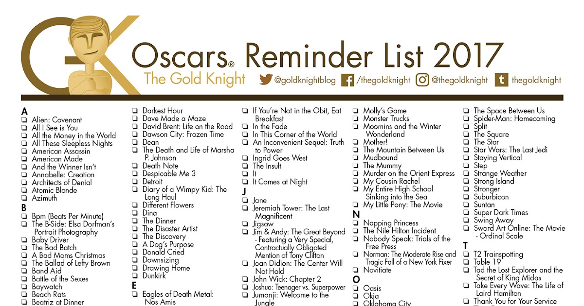 Oscars 2018 printable best picture reminder list how - Academy awards 2017 download ...