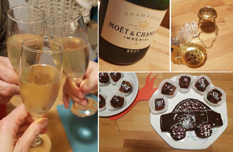 Gefeiert wird mit Champagner und Kuchen